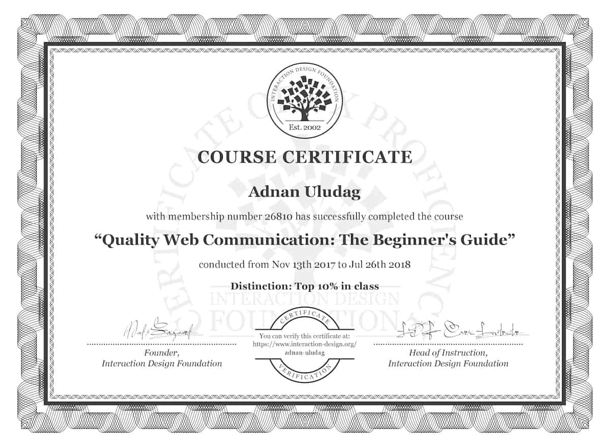 Quality Web Comm Certificate