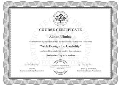 Web Design for Usability Certificate