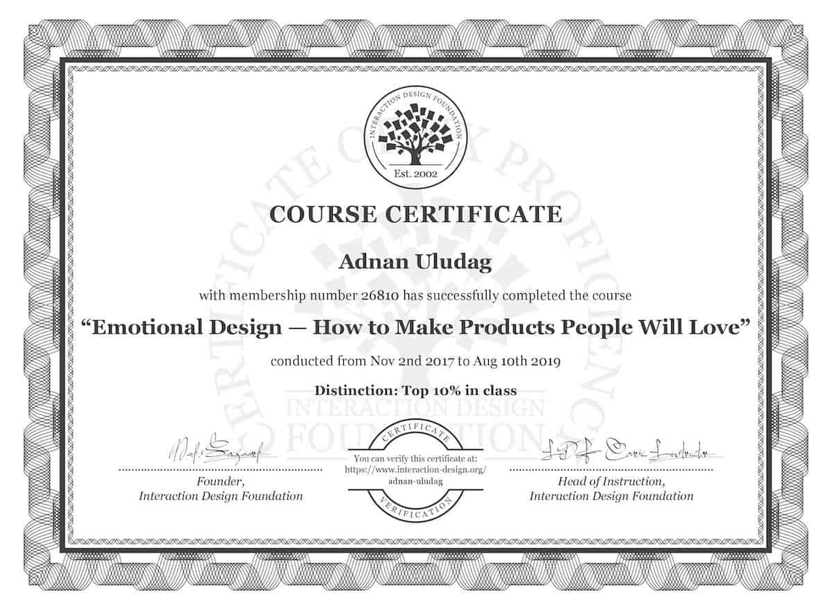 Emotional Design Course Certificate